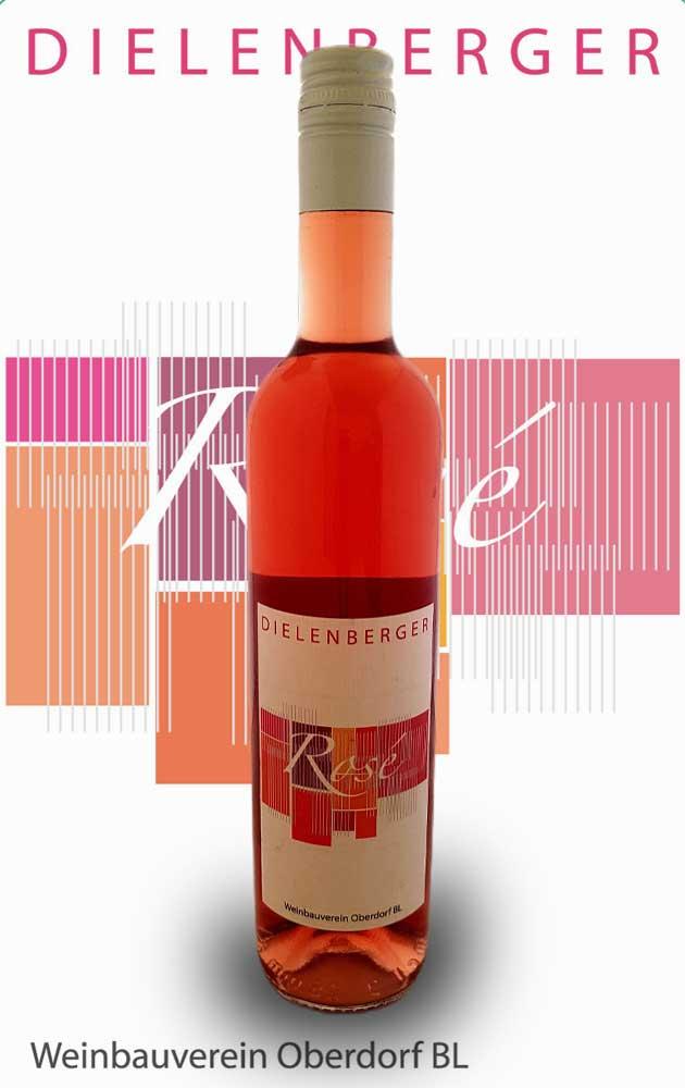 Flaschen-auf-Etikette-Rose